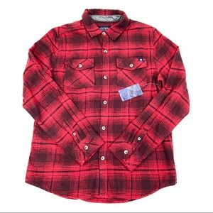 Lucky Brand Boys Red Plaid Lumberjack Flannel LG